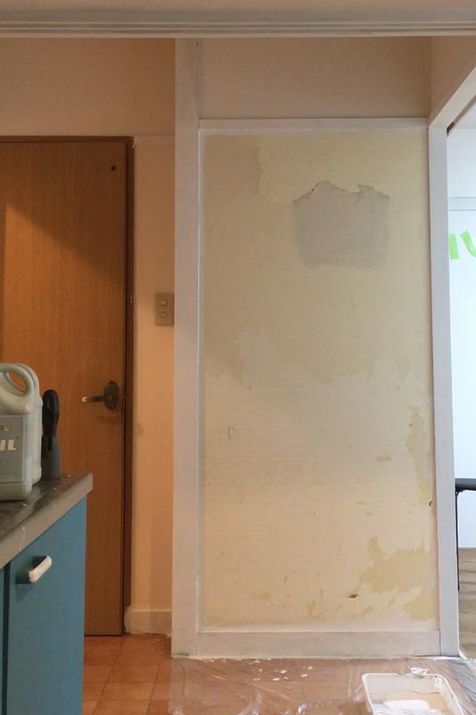 トイレ横壁 有孔ボードを貼る前