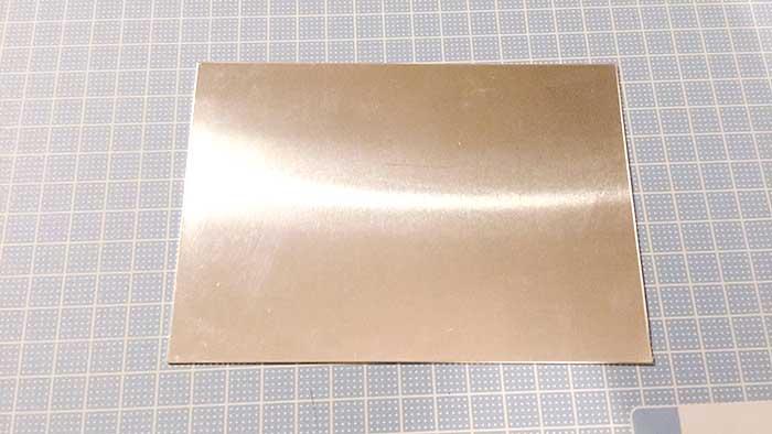 塩素で表札 アルミ板 形を整える段階は終了